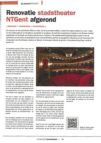 Bouwkroniek - Renovatie stadstheater NTGent afgerond