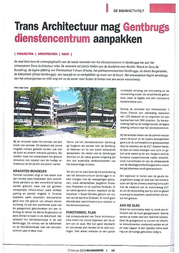Bouwkroniek - Trans architectuur mag Gentbrugs diesntencentrum aanpakken
