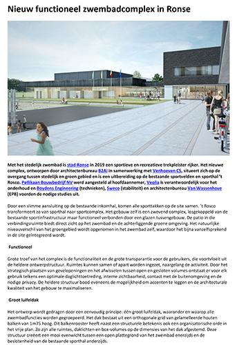Nieuw functioneel zwembadcomplex in Ronse